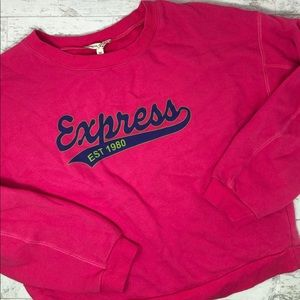 Express Pink Graphic Pullover Sweater Size M